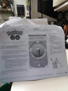 Starbucks printout showing nextgen Pokémon release dates.