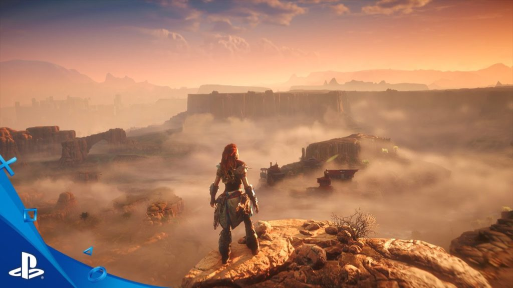 Horizon Zero Dawn: Aloy overlooks the desert